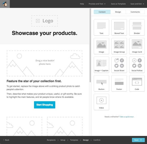 'Showcase your products' template from MailChimp