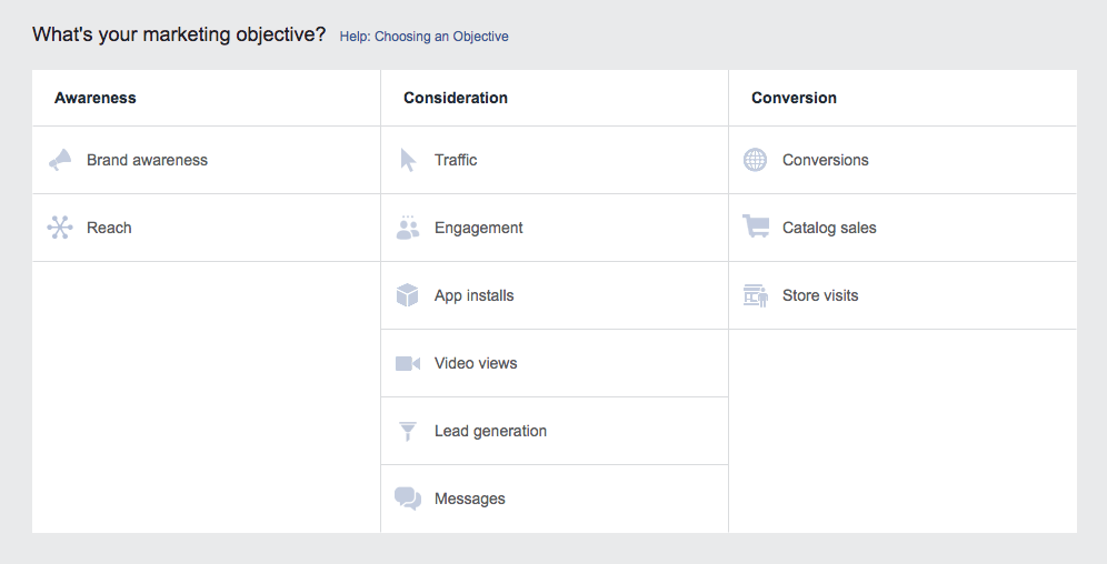 Facebook Ads Manager Marketing Objectives Options